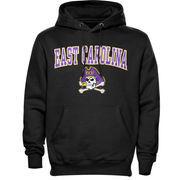 Mens Black East Carolina Pirates Arch Over Logo Hoodie
