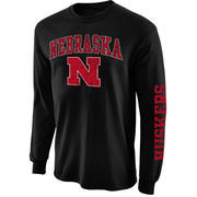 Mens Nebraska Cornhuskers Black Arch & Logo Long Sleeve T-Shirt