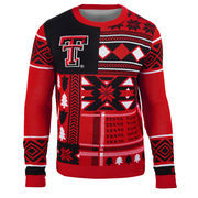 Men's Red Texas Tech Red Raiders Patches Ugly Sweater