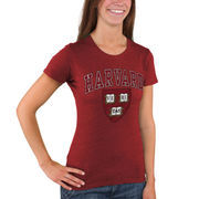 Women's New Agenda Heathered Crimson Harvard Crimson Big Arch & Logo Ring Spun T-Shirt