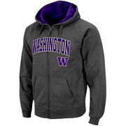 Men's Stadium Athletic Charcoal Washington Huskies Arch & Logo Full Zip Hoodie