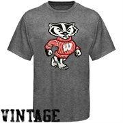 Wisconsin Badgers Distressed Big Logo Ring Spun T-Shirt - Gray