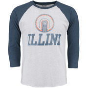 Men's White/Navy Illinois Fighting Illini Arch Logo Vault 3/4-Sleeve Raglan T-Shirt
