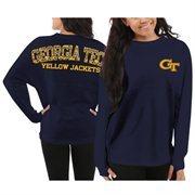 Women's Georgia Tech Yellow Jackets Navy Blue Aztec Sweeper Long Sleeve Oversized Top