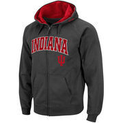 Men's Stadium Athletic Charcoal Indiana Hoosiers Arch & Logo Full Zip Hoodie
