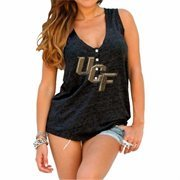 Womens UCF Knights Original Retro Brand Black Relaxed Henley Tank Top