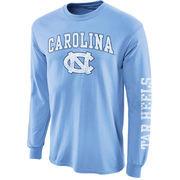 Men's New Agenda Carolina Blue North Carolina Tar Heels Big Arch & Logo Long Sleeve T-Shirt with Sleeve Hit