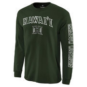 Men's Green Hawaii Warriors Distressed Arch Over Logo Long Sleeve Hit T-Shirt