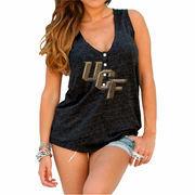 Womens UCF Knights Original Retro Brand Black Relaxed Henley Tank Top