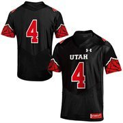 Men's Under Armour Black No. 4 Utah Utes Replica Football Performance Jersey