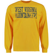 Men's Gold West Virginia Mountaineers Straight Out Long Sleeve T-Shirt