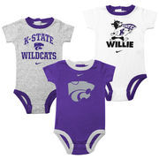Kansas State Wildcats Infant 3-Pack Creeper Set - Purple/Ash/White