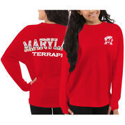 Women's Maryland Terrapins Red Aztec Sweeper Long Sleeve Oversized Top
