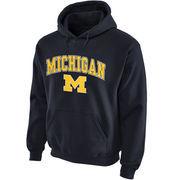 Men's New Agenda Navy Michigan Wolverines Midsize Arch Over Logo Hoodie