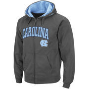 Men's Stadium Athletic Charcoal North Carolina Tar Heels Arch & Logo Full Zip Hoodie