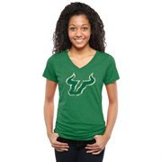 Women's Kelly Green South Florida Bulls Classic Primary Tri-Blend V-Neck T-Shirt