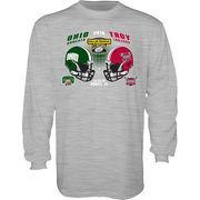 Men's Blue 84 Heathered Gray Ohio Bobcats vs. Troy Trojans 2016 Dollar General Bowl Dueling Long Sleeve T-Shirt