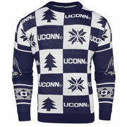 Men's Navy UConn Huskies Patches Ugly Pullover Sweater