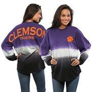 Women's Purple Clemson Tigers Ombre Long Sleeve Dip-Dyed Spirit Jersey