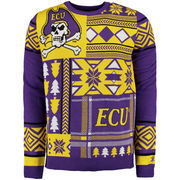 Men's Purple East Carolina Pirates Patches Ugly Sweater