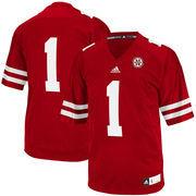Men's adidas #1 Scarlet Nebraska Cornhuskers Replica Football Jersey