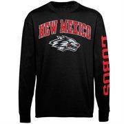 Men's New Agenda Black New Mexico Lobos Distressed Arch & Logo Long Sleeve T-Shirt
