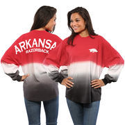 Women's Cardinal Arkansas Razorbacks Ombre Long Sleeve Dip-Dyed Spirit Jersey