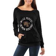 Women's Wake Forest Demon Deacons Black Roundhouse Too Junior Vintage Boatneck Sweatshirt