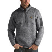 Men's Antigua Heathered Charcoal Wake Forest Demon Deacons Fortune 1/2-Zip Pullover Sweater