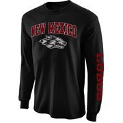 Men's New Agenda Black New Mexico Lobos Distressed Arch & Logo Long Sleeve T-Shirt