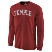 Men's Garnet Temple Owls Basic Arch Long Sleeve T-Shirt
