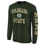 Men's Fanatics Branded Green Colorado State Rams Distressed Arch Over Logo Long Sleeve Hit T-Shirt