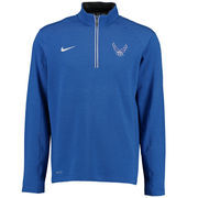 Men's Nike Royal Air Force Falcons Football Coaches Sideline Half-Zip Tri-Blend Performance Knit Top