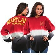 Women's Red Maryland Terrapins Ombre Long Sleeve Dip-Dyed Spirit Jersey