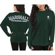Women's Marshall Thundering Herd Green Aztec Sweeper Long Sleeve Oversized Top