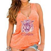 Womens Clemson Tigers Original Retro Brand Orange Relaxed Henley Tank Top