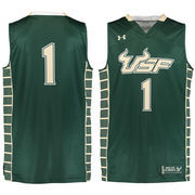 Men's Under Armour #1 Green South Florida Bulls Performance Replica Basketball Jersey