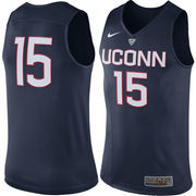 Men's Nike #15 Navy UConn Huskies Hyper Elite Authentic Performance Basketball Jersey