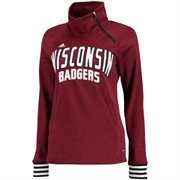 Women's adidas Red Wisconsin Badgers Ultimate Performance Pullover Crew Sweatshirt