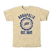 Navy Midshipmen Old-School Seal Tri-Blend T-Shirt - Cream