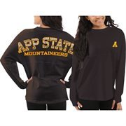 Women's Appalachian State Mountaineers Black Aztec Sweeper Long Sleeve Oversized Top