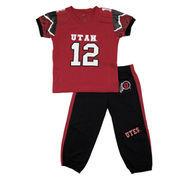 Toddler Red/Black Utah Utes #12 Fast Asleep Jersey Pajamas
