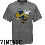 GA Tech Yellow Jackets Distressed Big Logo Ring Spun T-Shirt - Gray