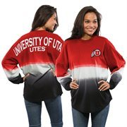 Women's Red Utah Utes Ombre Long Sleeve Dip-Dyed Spirit Jersey