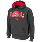 Men's Stadium Athletic Charcoal Louisville Cardinals Arch & Logo Pullover Hoodie