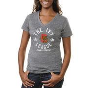 Cornell Big Red Women's Conference Stamp Tri-Blend V-Neck T-Shirt - Ash
