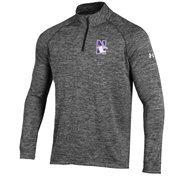 Men's Under Armour Heather Black Northwestern Wildcats 1/4 Zip Long Sleeve Tech T-Shirt