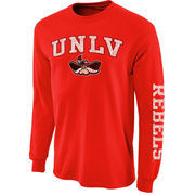 Men's New Agenda Scarlet UNLV Rebels Distressed Arch & Logo Long Sleeve T-Shirt