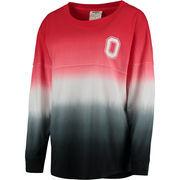 Women's Ohio State Buckeyes Red Dip Dye Cheer Long Sleeve T-Shirt