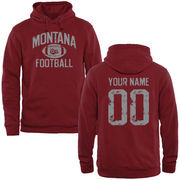 Men's Garnet Montana Grizzlies Personalized Distressed Football Pullover Hoodie